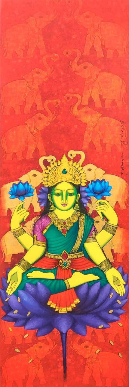 Prakash Deshmukh | Acrylic Painting title Laxmi 2 on Canvas | Artist Prakash Deshmukh Gallery | ArtZolo.com