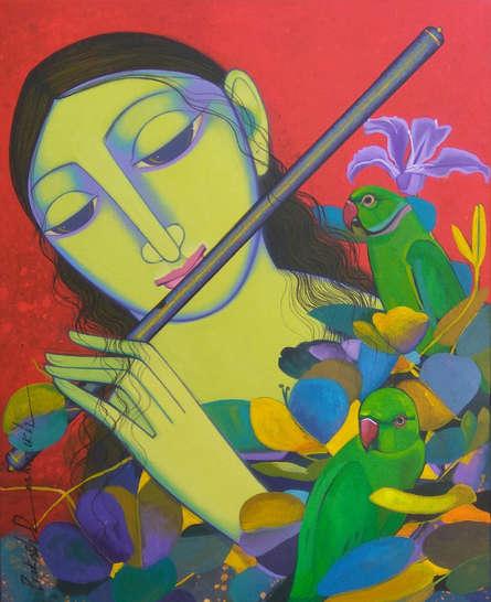 Religious Acrylic Art Painting title 'Radha 2' by artist Prakash Deshmukh