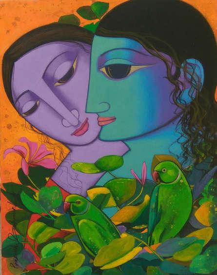 Religious Acrylic Art Painting title 'Radha Krishna' by artist Prakash Deshmukh