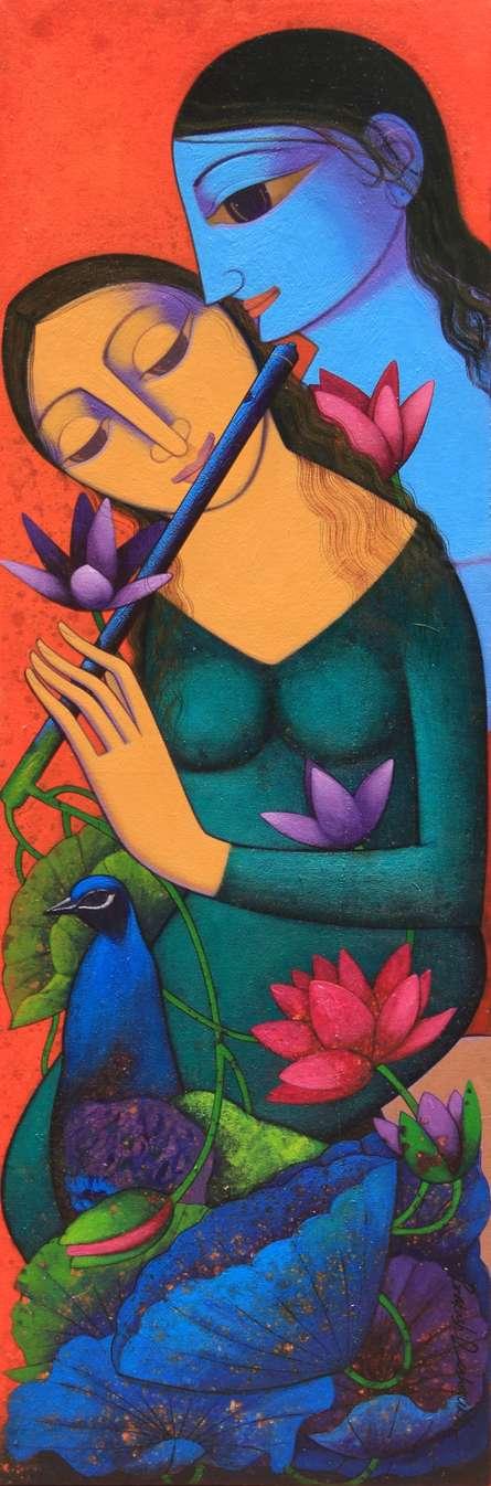Religious Acrylic Art Painting title 'Radha Krishna 1' by artist Prakash Deshmukh