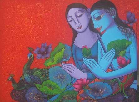 Prakash Deshmukh | Acrylic Painting title Radha Krishna 3 on Canvas | Artist Prakash Deshmukh Gallery | ArtZolo.com
