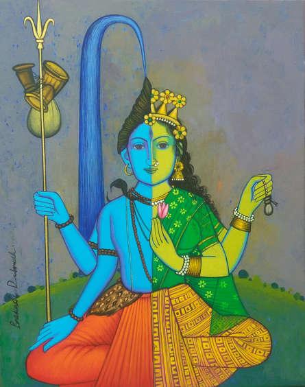 Religious Acrylic Art Painting title 'Shiv Shakti' by artist Prakash Deshmukh