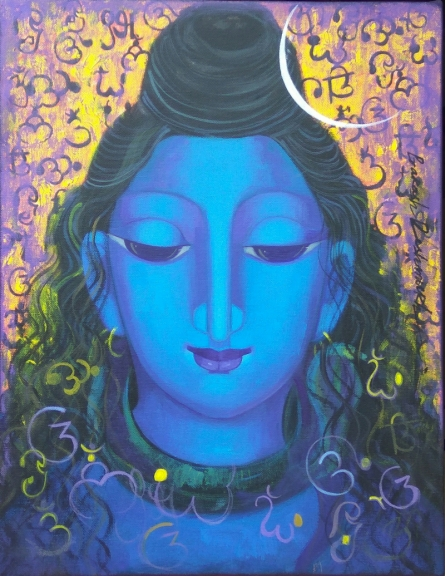 Religious Acrylic Art Painting title 'Shiva 2' by artist Prakash Deshmukh