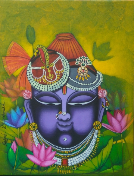 Religious Acrylic Art Painting title 'Shreenathji' by artist Prakash Deshmukh