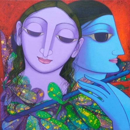 Figurative Acrylic Art Painting title 'Untitled 3' by artist Prakash Deshmukh