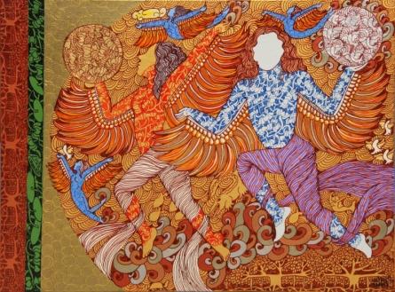 contemporary Mixed-media Art Painting title 'Untitled 3' by artist Seema Kohli