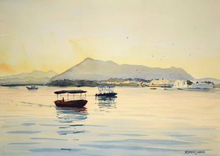 Seascape Watercolor Art Painting title 'Boats On Lake Pichola' by artist Ramesh Jhawar