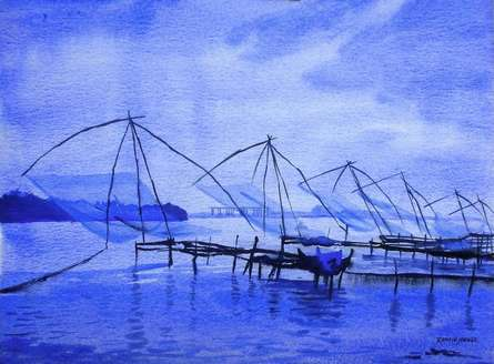 Nature Watercolor Art Painting title 'Chinese Fishing Nets Kochi' by artist Ramesh Jhawar