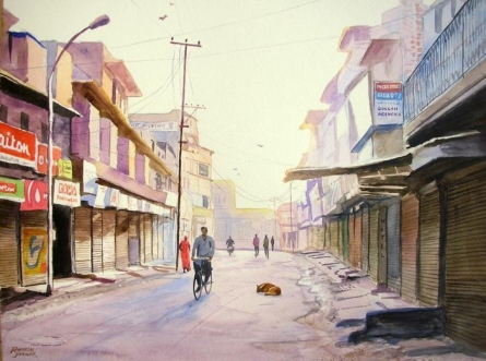 Cityscape Watercolor Art Painting title 'Early Morning' by artist Ramesh Jhawar