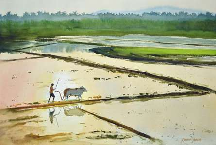 Ramesh Jhawar | Watercolor Painting title Golden Fields on Paper | Artist Ramesh Jhawar Gallery | ArtZolo.com