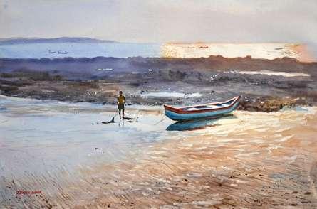 Seascape Watercolor Art Painting title 'Golden Light Gorai Beach' by artist Ramesh Jhawar