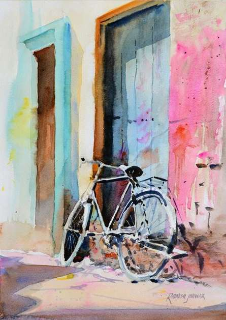 Landscape Watercolor Art Painting title 'Holi In Varanasi' by artist Ramesh Jhawar