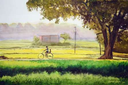 Ramesh Jhawar | Watercolor Painting title Jolly Ride on Paper | Artist Ramesh Jhawar Gallery | ArtZolo.com