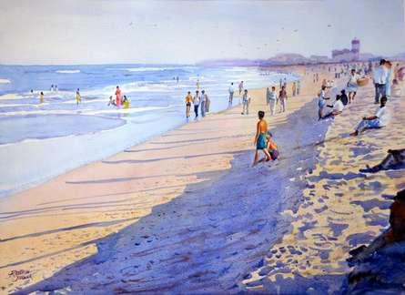 Marina Beach - Chennai | Painting by artist Ramesh Jhawar | watercolor | Paper