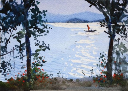 Landscape Watercolor Art Painting title 'Sparkling Waters' by artist Ramesh Jhawar