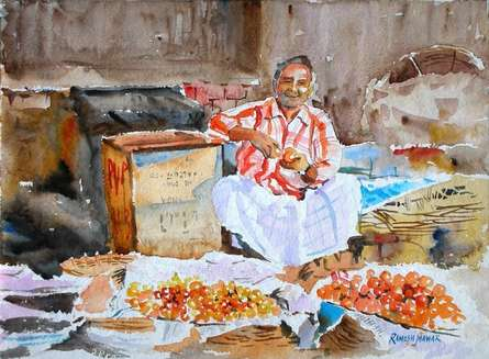 Figurative Watercolor Art Painting title 'Tomato Seller' by artist Ramesh Jhawar