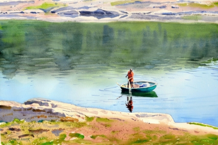 Landscape Watercolor Art Painting title Fishing In The Cauvery by artist Ramesh Jhawar