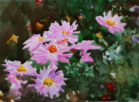 Nature Watercolor Art Painting title 'Flowers' by artist Ramesh Jhawar
