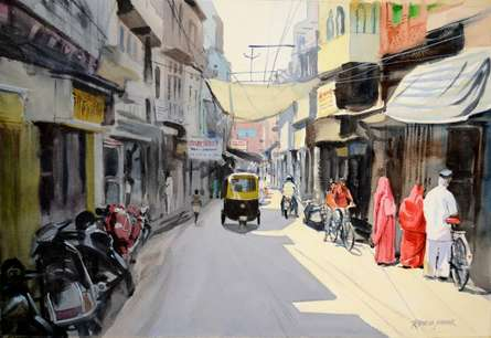 Jodhpur Street 4 | Painting by artist Ramesh Jhawar | watercolor | Paper