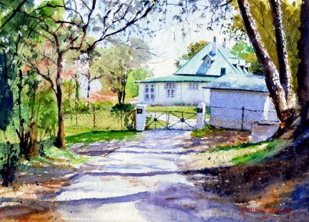 Cityscape Watercolor Art Painting title 'Kasauli House' by artist Ramesh Jhawar