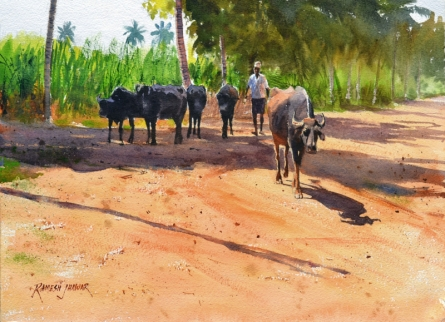 Landscape Watercolor Art Painting title 'Minding His Herd 3' by artist Ramesh Jhawar