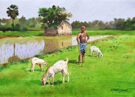 Figurative Watercolor Art Painting title 'Minding His Herd 4' by artist Ramesh Jhawar