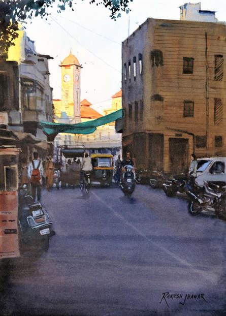 Cityscape Watercolor Art Painting title The Last Light by artist Ramesh Jhawar