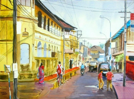 Cityscape Watercolor Art Painting title 'After Rains' by artist Ramesh Jhawar