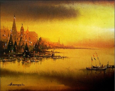 Landscape Acrylic Art Painting title Untitled by artist Soumen Saha