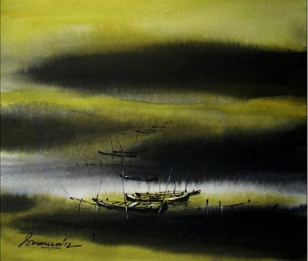 Nature Acrylic Art Painting title 'Untitled' by artist Soumen Saha