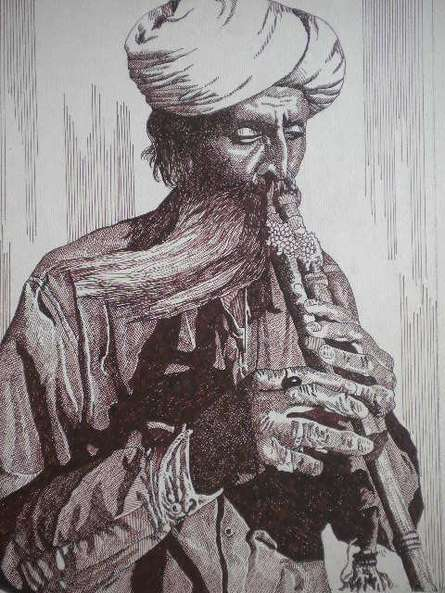 Portrait Pen Art Drawing title 'Tribal Man' by artist Pradeep Swain