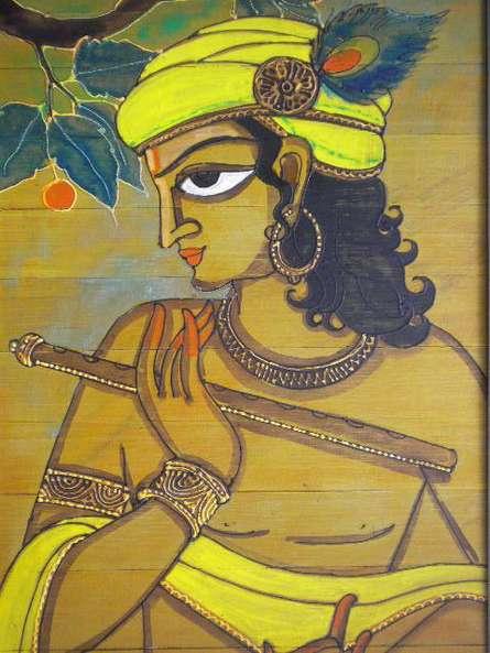 Folk Art Acrylic Art Painting title 'Krishna' by artist Pradeep Swain