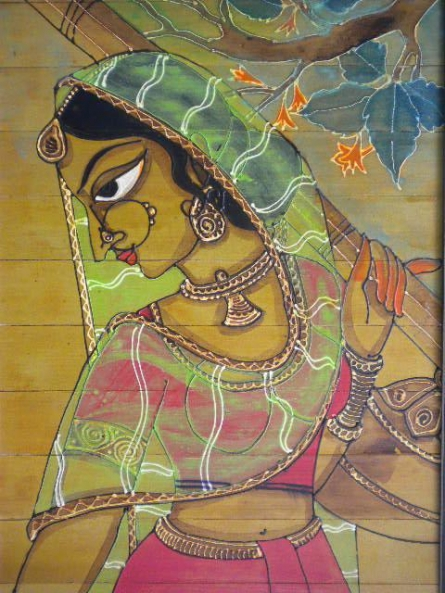 Indian Beauty II | Painting by artist Pradeep Swain | acrylic | Leaf