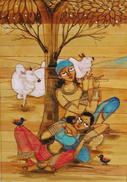 Folk Art Acrylic Art Painting title 'Krishna Radha Love II' by artist Pradeep Swain