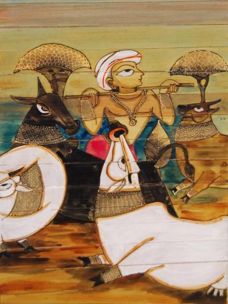 Krishna And Cows | Painting by artist Pradeep Swain | acrylic | Leaf