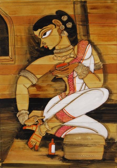Folk Art Acrylic Art Painting title Shringar Iv by artist Pradeep Swain