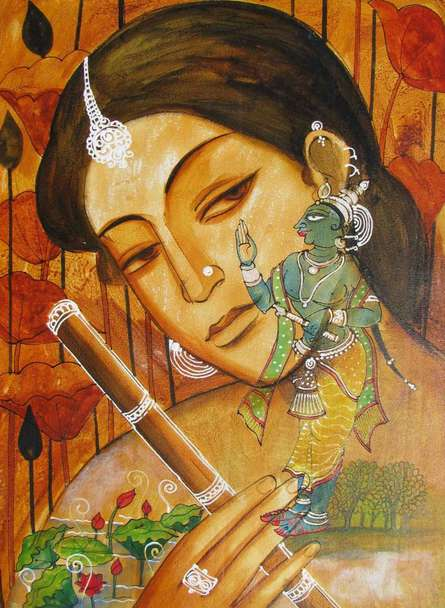 Folk Art Acrylic Art Painting title 'Radha In Thought Of Krishna' by artist Pradeep Swain