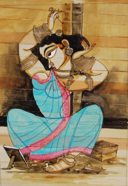 Folk Art Acrylic Art Painting title 'Shringar II' by artist Pradeep Swain