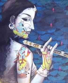 Krishna All Around | Painting by artist Pradeep Swain | acrylic | Canvas