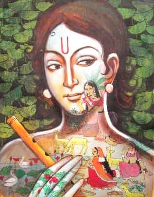 Folk Art Acrylic Art Painting title 'Radha All Around' by artist Pradeep Swain