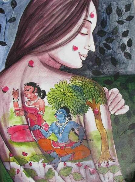 Folk Art Acrylic Art Painting title 'Krishna Leela I' by artist Pradeep Swain