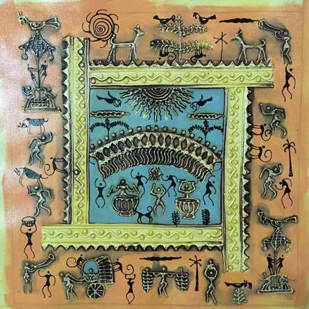 Warli Art 3 | Painting by artist Pradeep Swain | other | Canvas