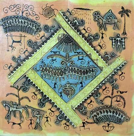 Folk Art Tribal Art Painting title 'Warli Art 2' by artist Pradeep Swain