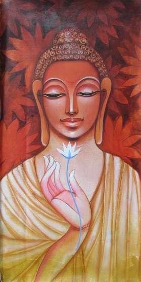 Pradeep Swain | Acrylic Painting title Buddha on Canvas | Artist Pradeep Swain Gallery | ArtZolo.com