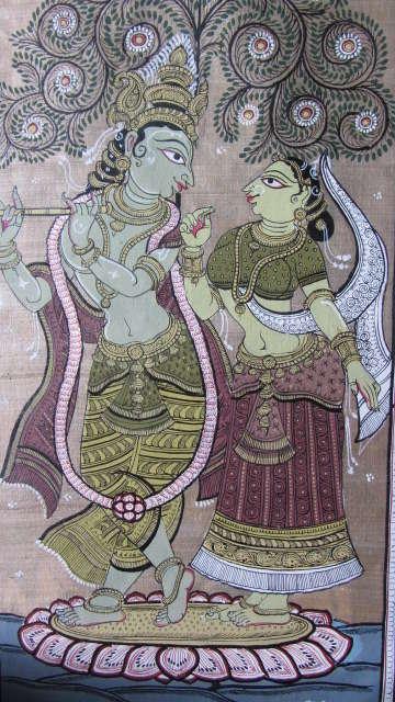 Folk Art Fabric Art Painting title 'Krishna Radha Tasar Cloth Painting V' by artist Pradeep Swain