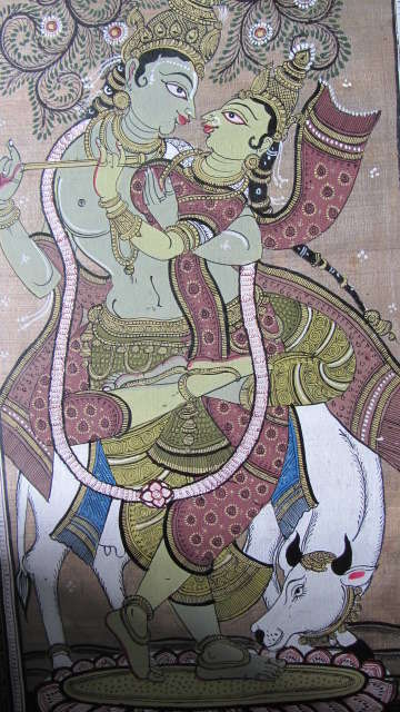 Folk Art Fabric Art Painting title 'Krishna Radha Tasar Cloth Painting IV' by artist Pradeep Swain
