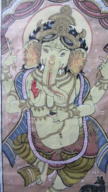Pradeep Swain | Fabric Painting title Ganesha Tasar Cloth Painting Iii on Cloth | Artist Pradeep Swain Gallery | ArtZolo.com