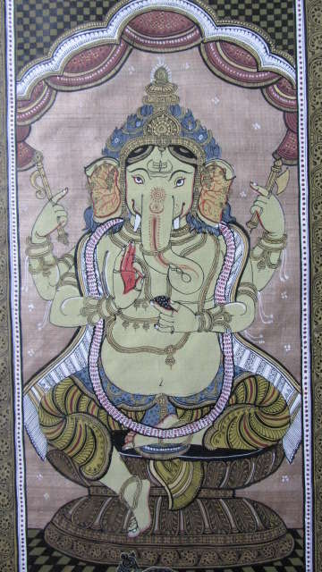 Folk Art Fabric Art Painting title 'Ganesha Tasar Cloth Painting Ii' by artist Pradeep Swain