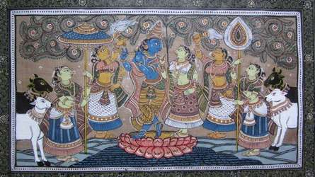 Folk Art Fabric Art Painting title 'Krishna Radha Tasar Cloth Painting Iii' by artist Pradeep Swain