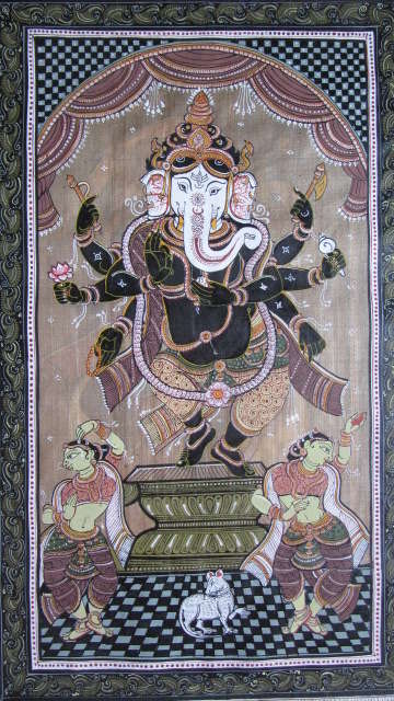 Folk Art Fabric Art Painting title 'Ganesha Tasar Cloth Painting I' by artist Pradeep Swain